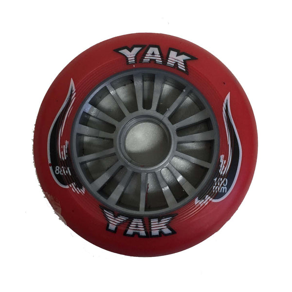 YAK Scooter Wheel Silver Plastic Core 100mm With Red PU Wheel