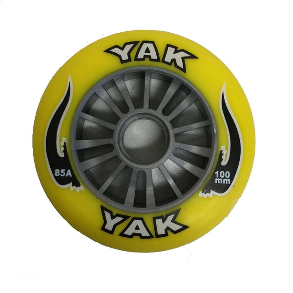 YAK Scooter Wheel Silver Plastic Core 100mm With Yellow PU Wheel