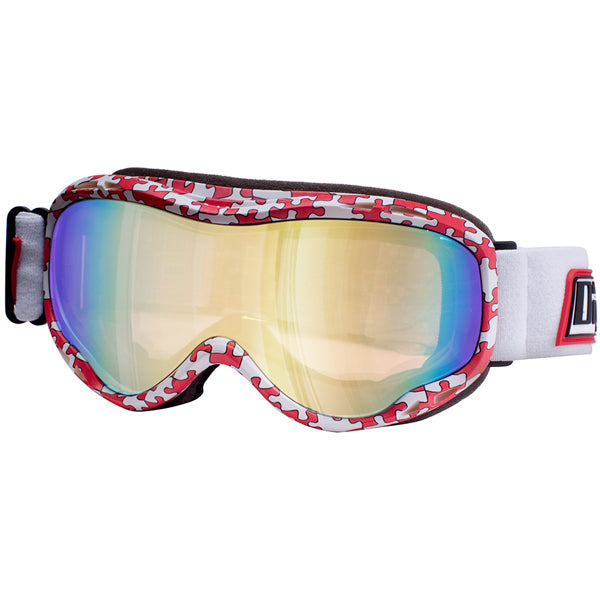 Dirty Dog Bug Snow Ski Goggles - Jigsaw Red White / Gold Mirror Lens