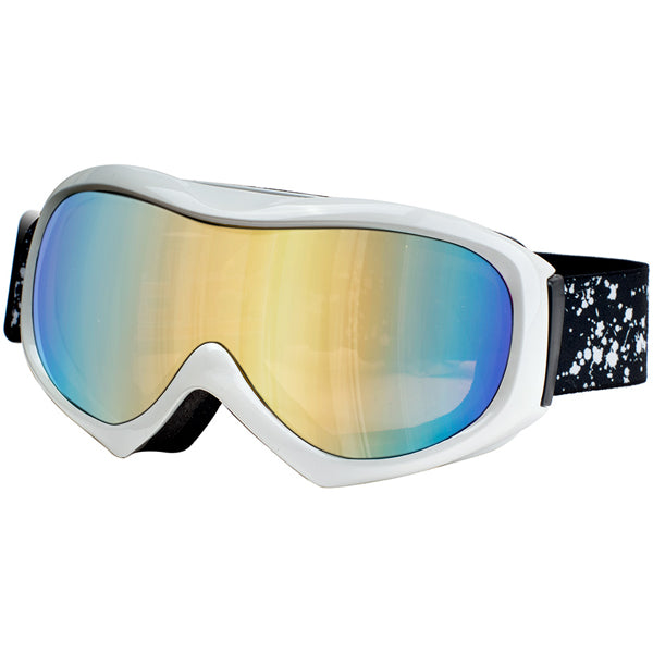 Dirty Dog Bluff Snow Ski Goggles - Shiny White / Gold Mirror Lens