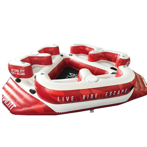 Jet Pilot Party Island Six Person Inflatable Tube with Drink Holders and Mesh Cooling Area