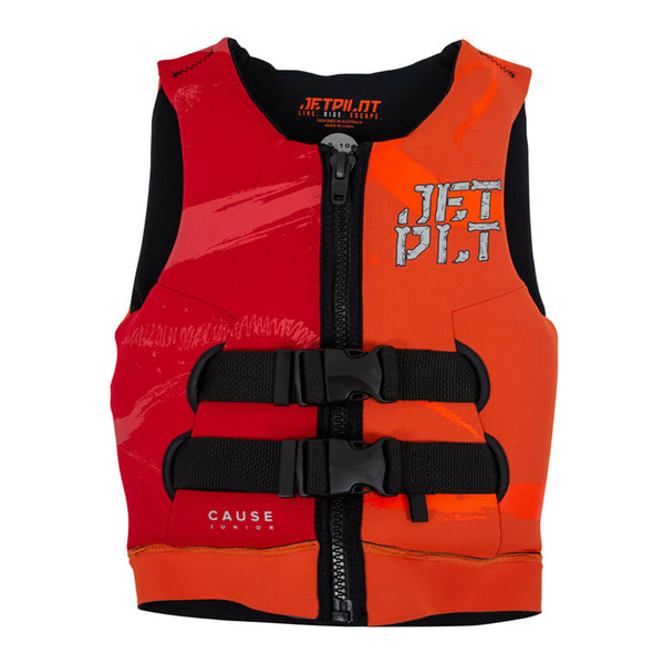 Jetpilot Cause Kid's and Youth Neo PFD Vest JA20211 Orange/Red Sizes 3-14