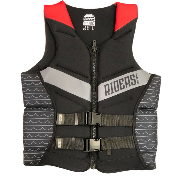 Riders Inc The Wave Men's PFD Vest Black-Red Sizes S-6XL