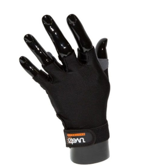 Uveto UPF50+ Sun Safe Fingerless Kayak Gloves With Palm Grip - Black Sizes XS-XL
