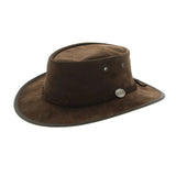 Barmah Foldaway Suede Wide Brim Bush Hat Chocolate - Sizes S-XXL