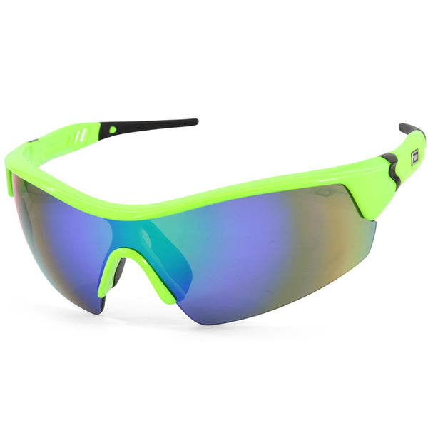 Dirty Dog Sport Edge 50859 Fluro Green/Blue Mirror Polarised Unisex Sunglasses