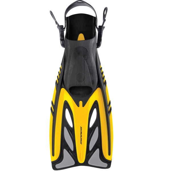 Mirage Gold Series Crystal Adult Dive Fins with Adjustable Heel Strap Yellow