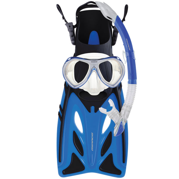 Mirage Crystal Junior Mask Snorkel and Fin Set with Tempered Glass Lens Blue S-XL
