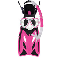 Mirage Crystal Junior Mask Snorkel and Fin Set with Tempered Glass Lens Pink Size S-XL
