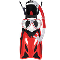 Mirage Crystal Junior Mask Snorkel and Fin Set with Tempered Glass Lens Red Size S-XL