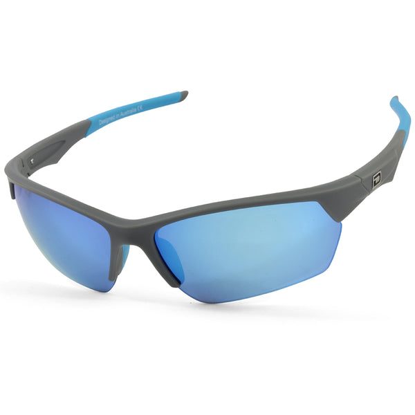 Dirty Dog Sport Track 58069 Silver Grey/Blue Mirror Polarised Sport Sunglasses