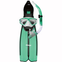Mirage Barracuda Fin Mask and Snorkel Set with Tempered Glass Lens Green