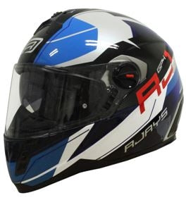 RJays GP4 Twin Shield System Pilot Motorcycle Helmet GLOSS WHITE BLACK BLUE