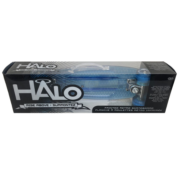 Halo Blue Retro Skateboard with Aluminium Trucks and PU Injected Wheels with ABEC 7 Bearings