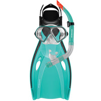 Mirage Mission Adult Fin Mask and Snorkel Set Sizes S/M and L/XL Teal Green