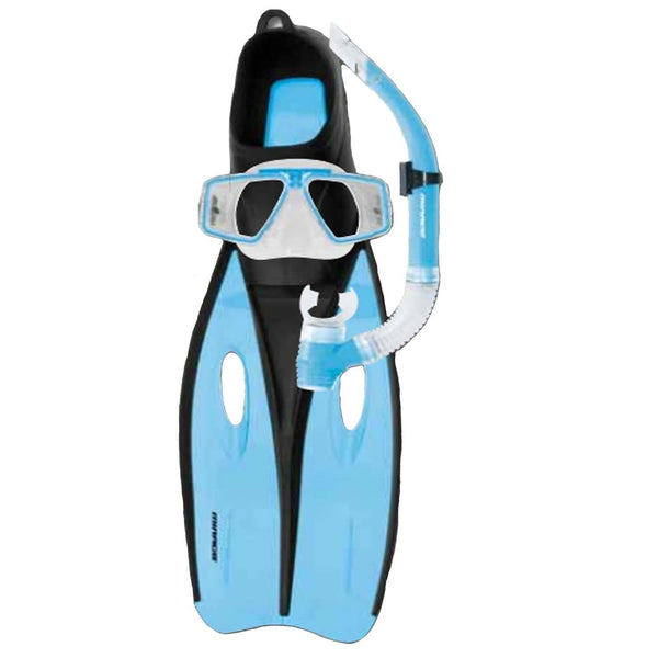Mirage Challenger Mask Snorkel and Fin Set with Tempered Glass Lens Sky Blue