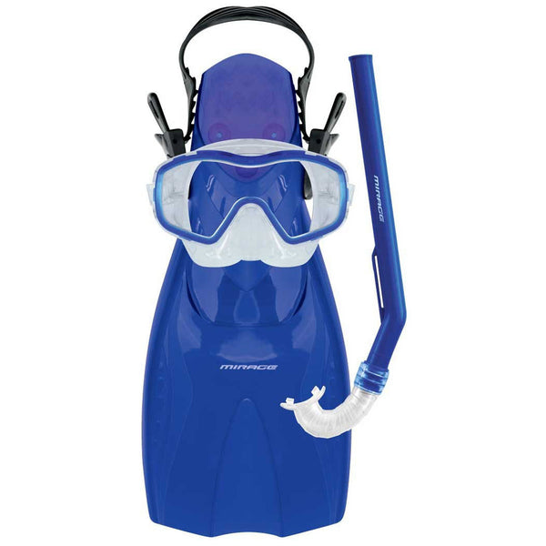 Mirage Shrimp Blue 3-9 year old Kid's Fin Flipper Mask and Snorkel Set