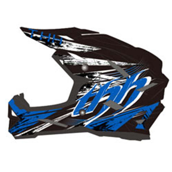 THH T-42 #3 ADULT Motorbike Race Helmet BLACK BLUE