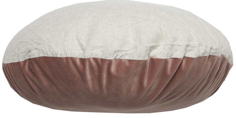 Coussin rond Ø65cm velours rasé & lin - Bed and philosophy
