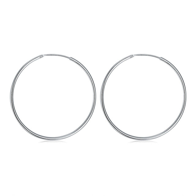 93cc23709 50MM Elegant Circular Smooth Hoop Earrings For Women or Men design Fashion Silver  Plated.
