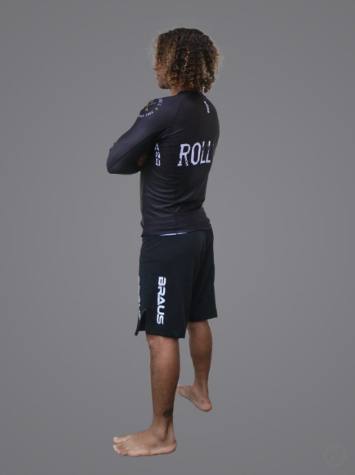 Braus Surf and Roll Rashguard Long Sleeve Black/Gold