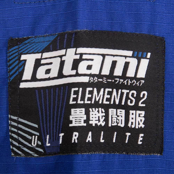 Tatami fightwear Elements Ultralite 2.0 Gi blue brand logo label