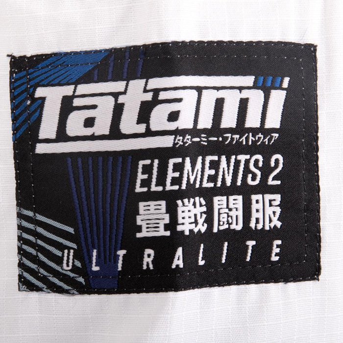 Tatami fightwear Elements Ultralite 2.0 Gi white brand logo label