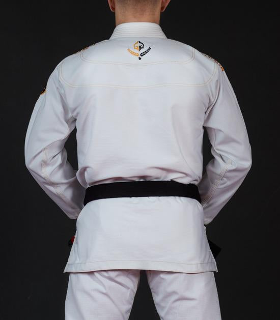 Back view of a Ground Game Champion 2.0 BJJ Gi White