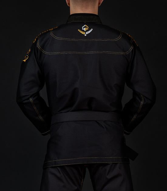 Back view of a Ground Game Champion 2.0 BJJ Gi Black