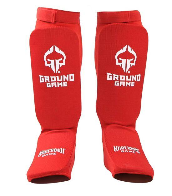 Front view of a Ground Game Knockout Game Elastic Shin Guards Red
