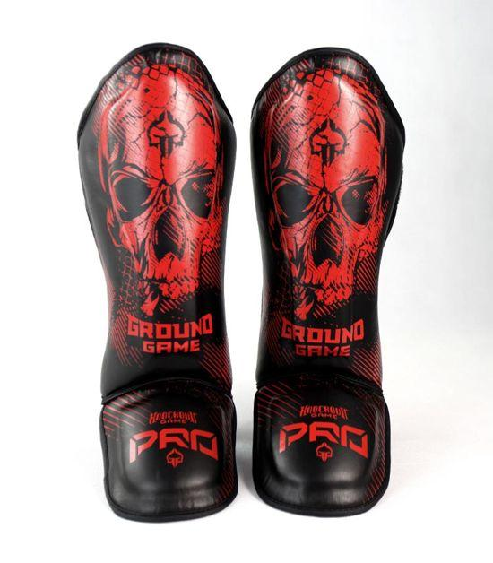Front view of a Ground Game Red Skull Shin Guards