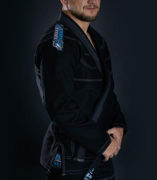 Side view of a Ground Game Rookie BJJ Gi Black