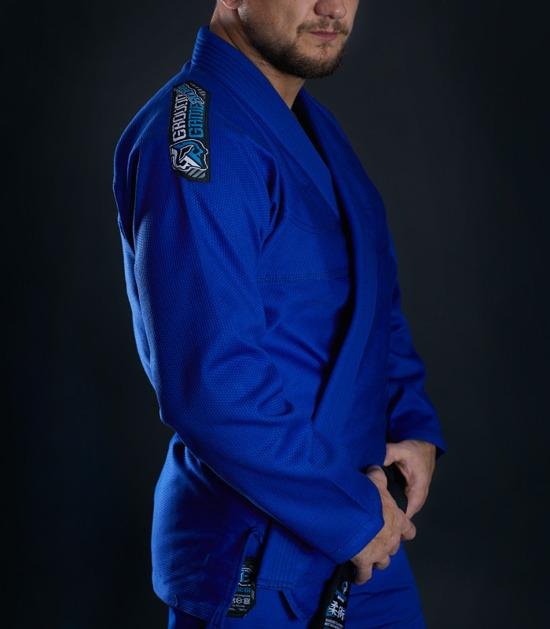 Side view of a Ground Game Rookie BJJ Gi Blue