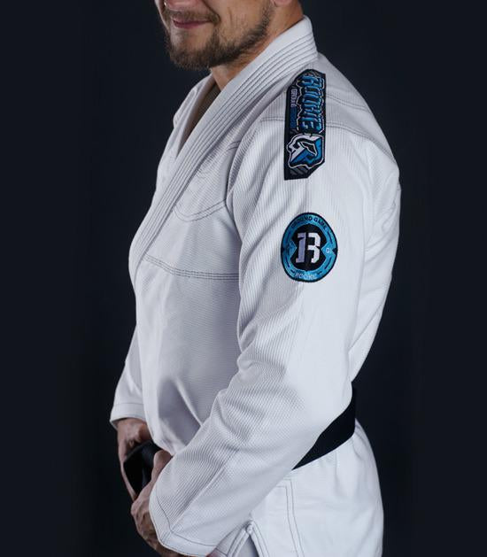 Side view of a Ground Game Rookie BJJ Gi White