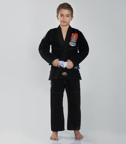 Front view of a Ground Game Tensai BJJ Kids Gi Black