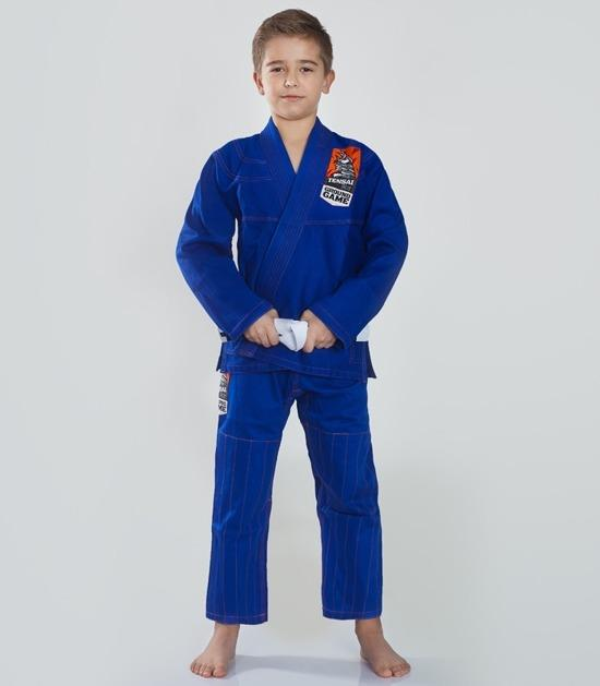Front view of a Ground Game Tensai BJJ Kids Gi Blue