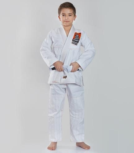 Front view of a Ground Game Tensai BJJ Kids Gi White