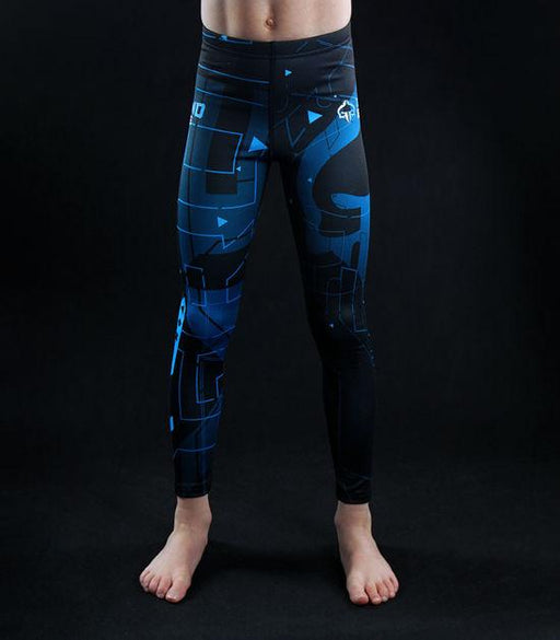 Front view of a Ground Game Shapes Kids Leggings Blue