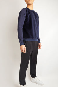 NAVY BLUE COTTON CASHMERE SWEATER