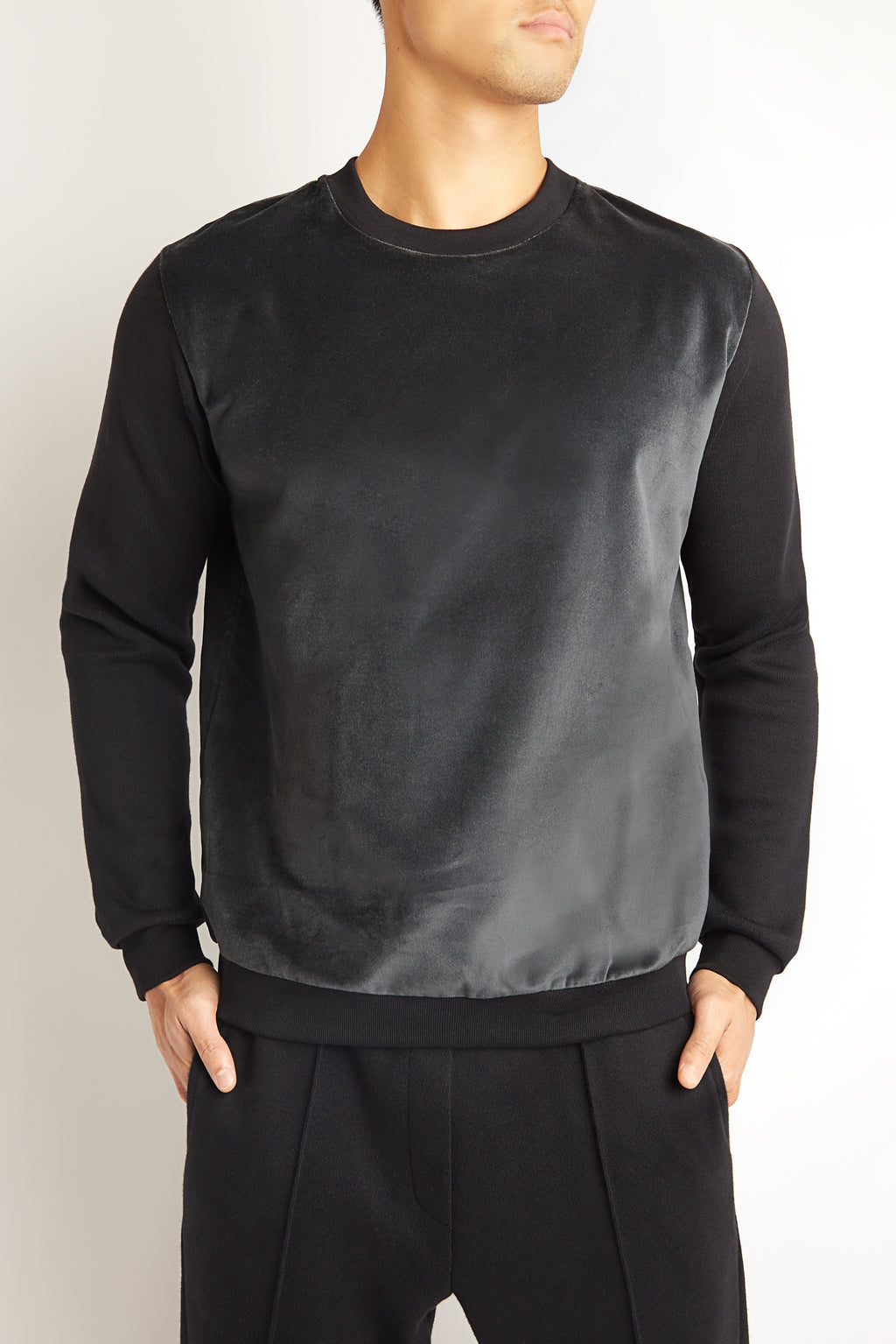 BLACK COTTON CASHMERE SWEATER