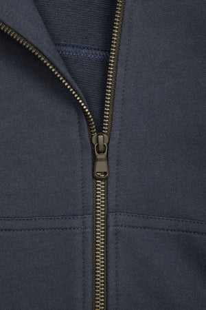 NAVY COMBED COTTON CASHMERE HOOD