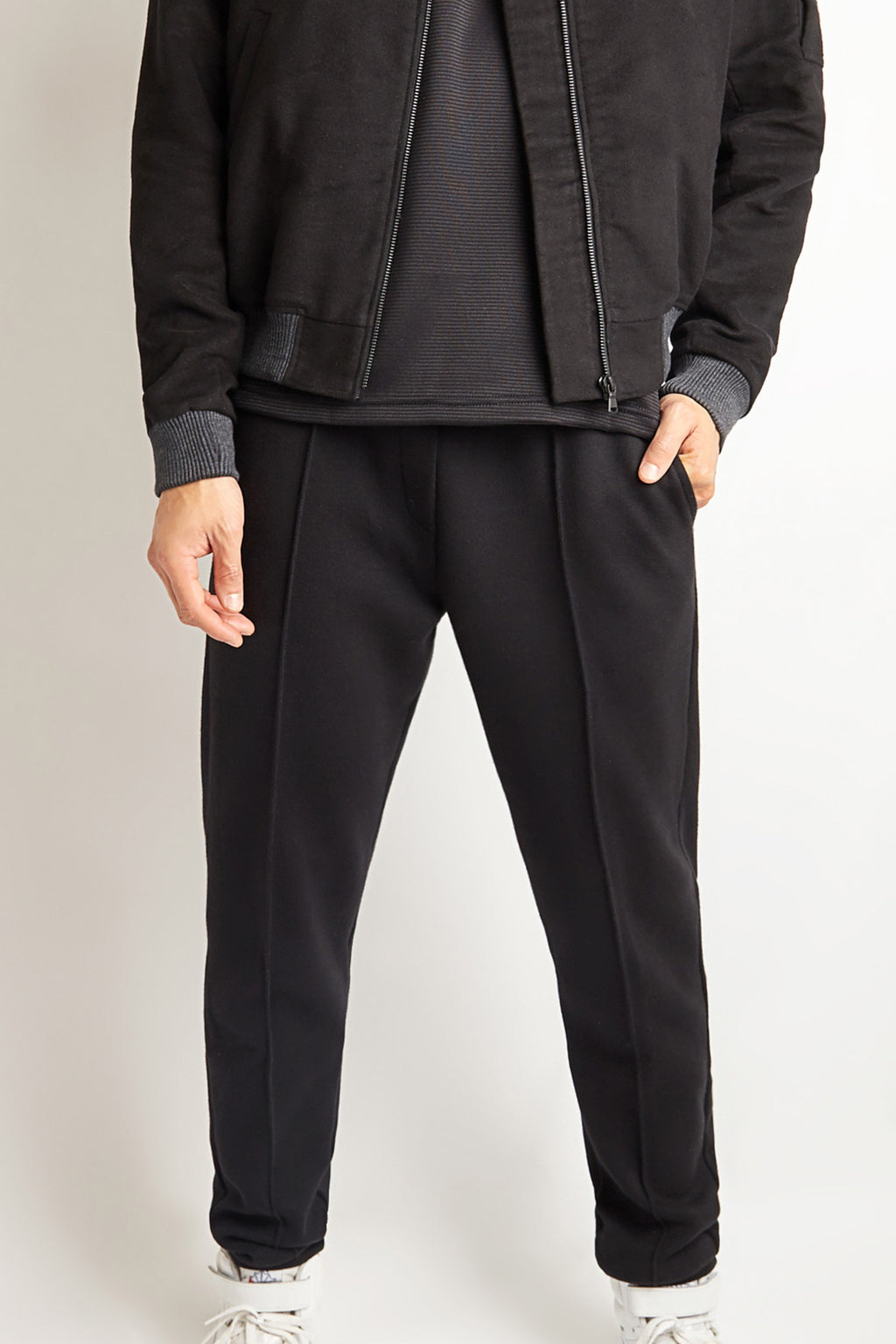BLACK COTTON CASHMERE JOGGING TROUSER