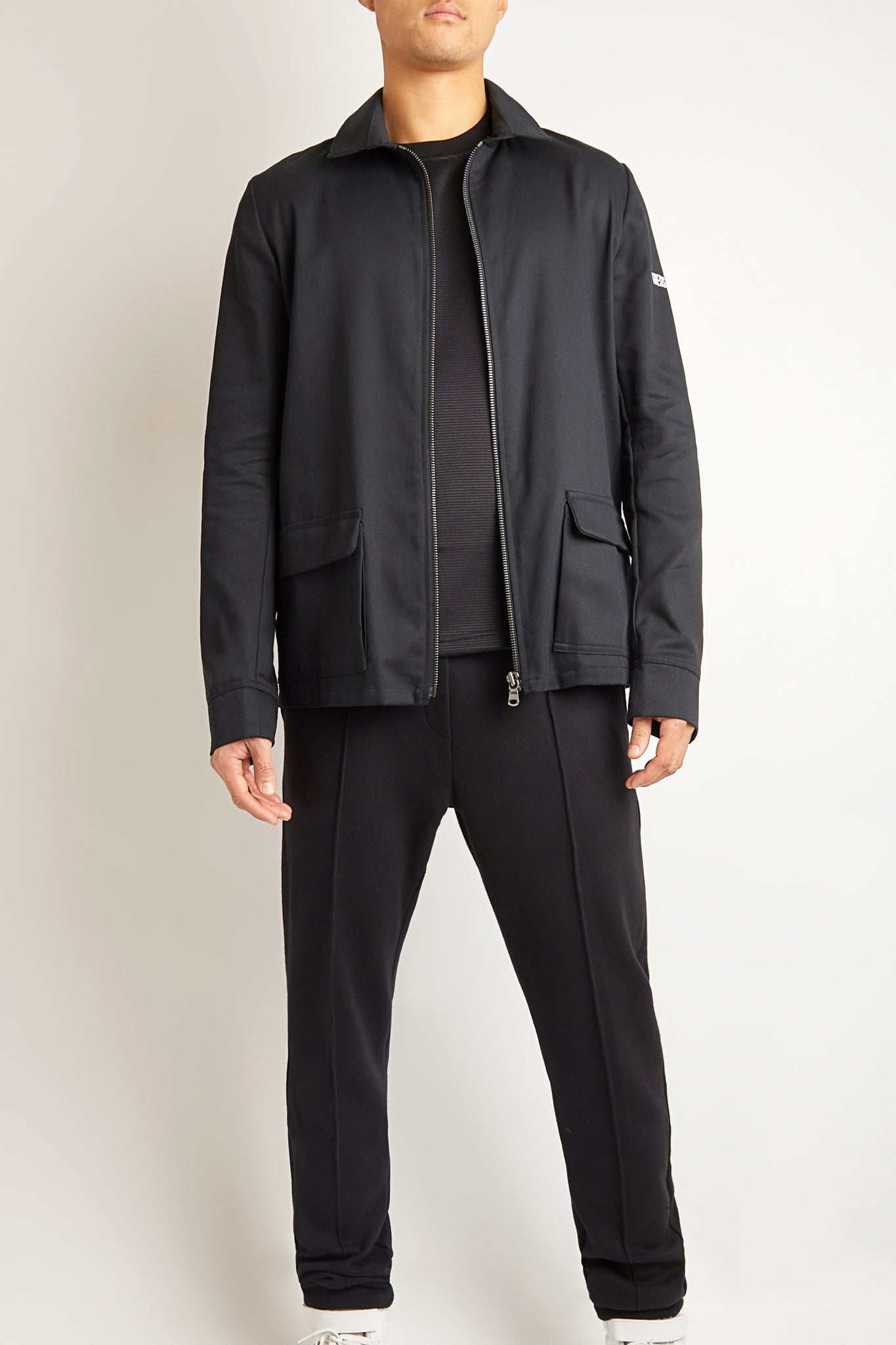 BLACK DENIM COTTON UTILITY JACKET