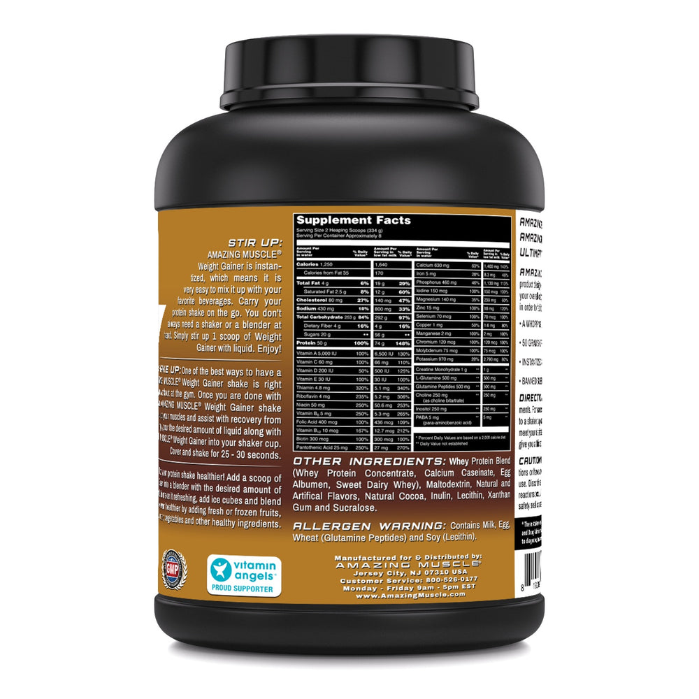 Amazing Muscle Whey Protein Gainer Chocolate Flavor 6 Lbs