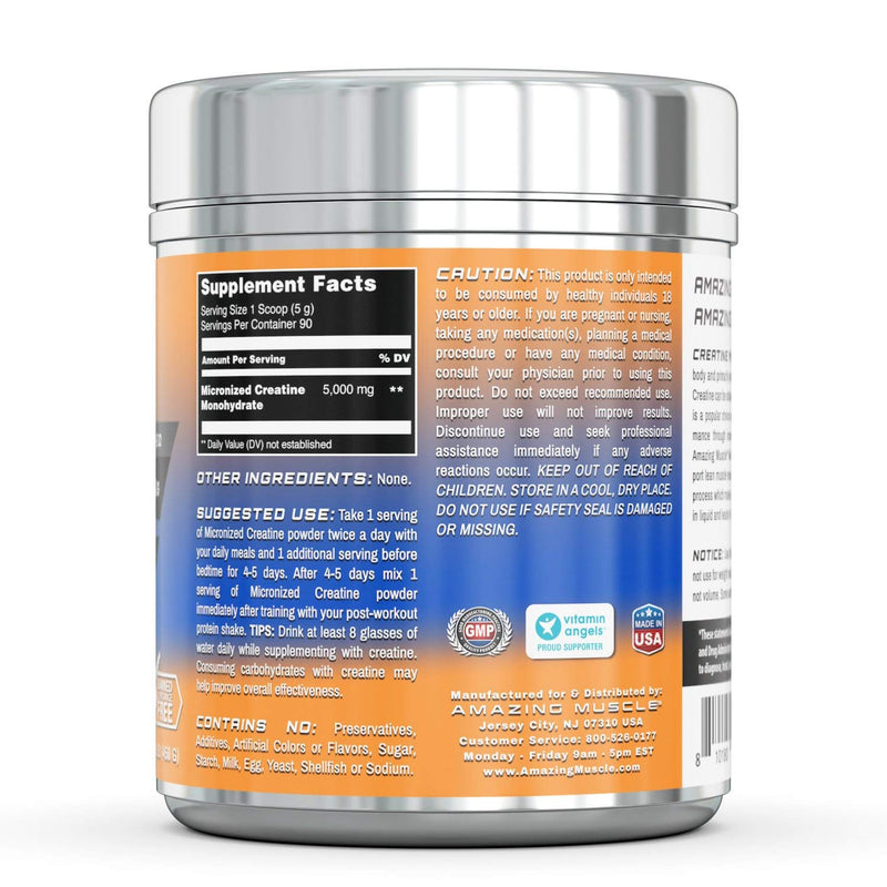 Amazing Muscle Micronized Creatine Monohydrate – 1 lb (453.5 Grams) - 5000 mg Unflavored  Micronized Creatine per Serving – Approx. 454 Servings- Ideal Pre & Post Workout Supplement support athletic performance & develop lean muscle mass*
