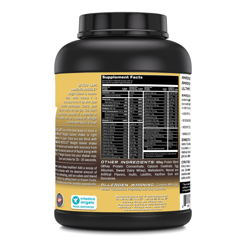 Amazing Muscle Whey Protein Gainer Vanilla Flavor 6 Lbs