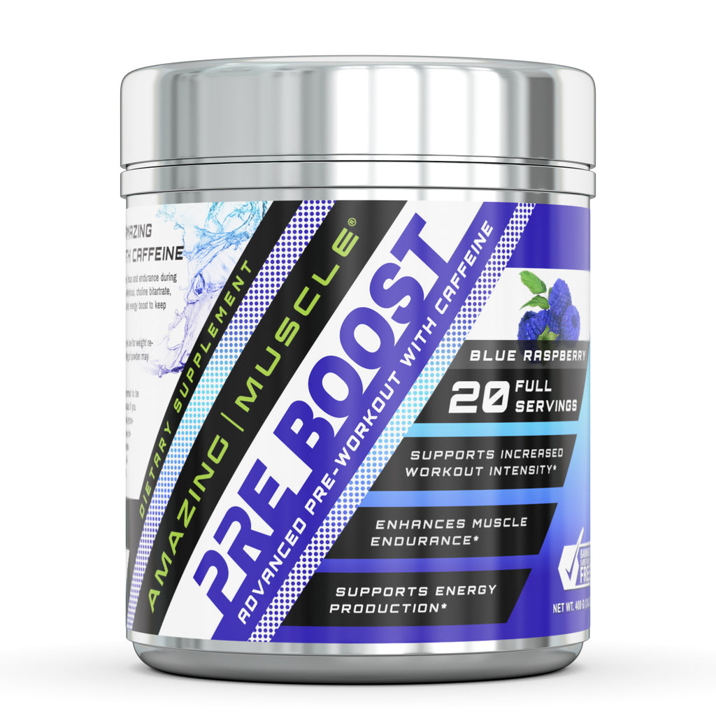 Amazing Muscle Pre Boost Pre Workout with Caffeine Blue Raspberry Flavor 20 Servings