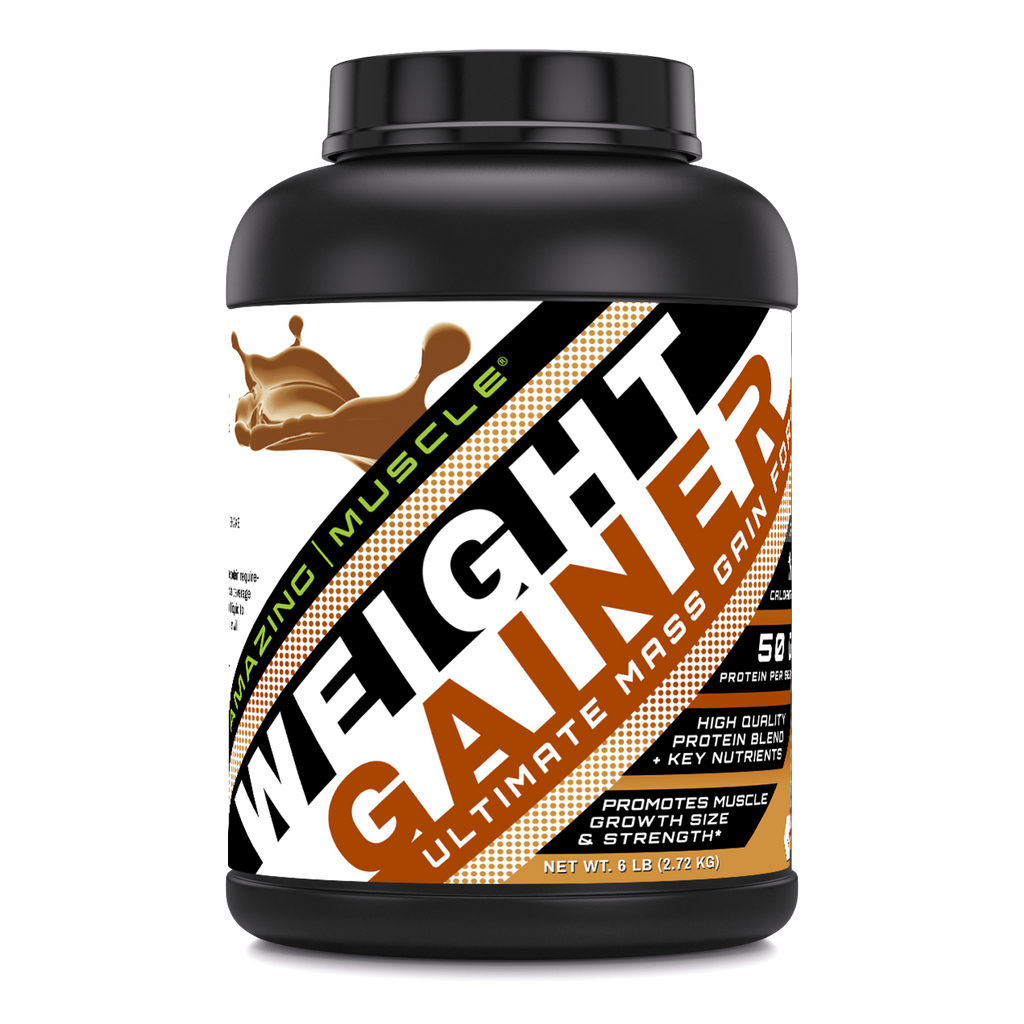 Amazing Muscle - Whey Protein Gainer - 6 Lb -(Peanut Butter)  Supports Lean Muscle Growth,Strength & Workout Recovery