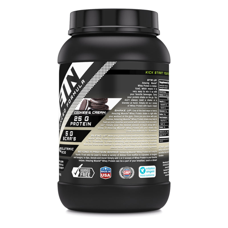 Amazing Muscle Whey Protein (Isolate & Concentrate) - 2 Lb,