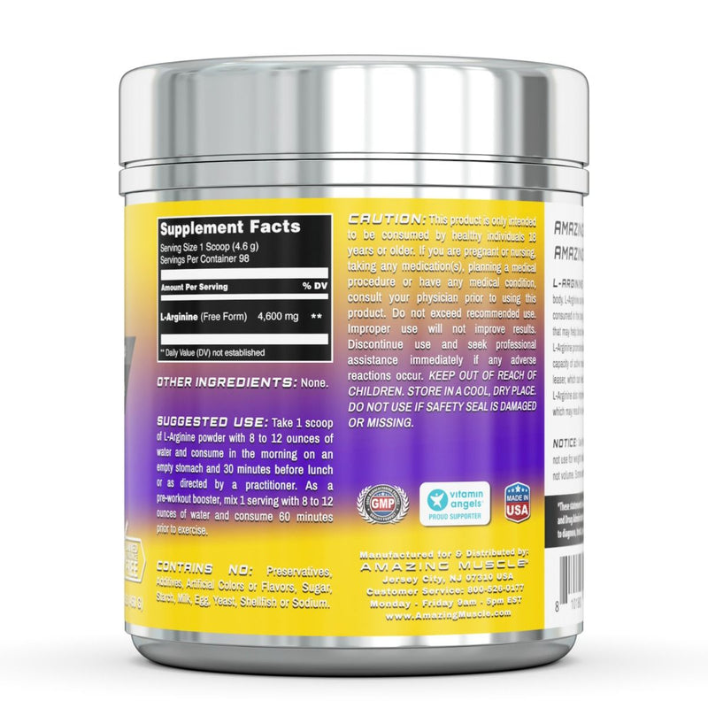 Amazing Muscle L-Arginine Essential Amino Acid Powder 1 Lb Unflavored 4.6g Per Servings